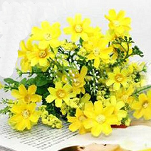 Yellow artificial flowers amazon beautiful 1 bouquet 28 heads fake daisy artificial silk flower home wedding decoration yellow mightylinksfo
