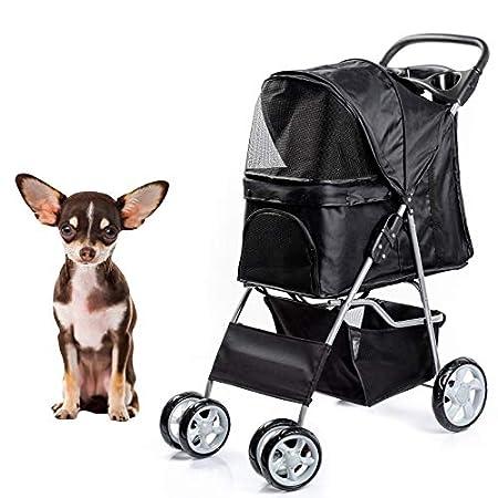 Dawoo Rädern Haustier Trolley Für Katzen/Hunde, Einfach Zu Falten Hundewagen, Mit Ablagekorb Und Getränkehalter