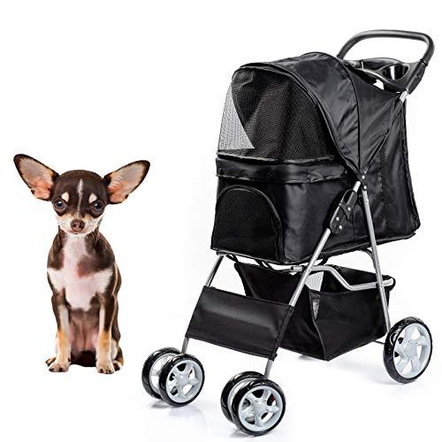 Dawoo 4 Rädern Haustier Trolley Für Katzen / Hunde, Einfach Zu Falten Hundewagen, Mit Ablagekorb Und Getränkehalter (Schwarz)