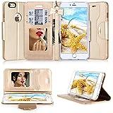 Fundas iPhone 6s, Fundas iPhone 6, Fyy Estuche de cuero de primera PU diseñado con espejo cosmetico y correa de mano con mo?o para iPhone 6S/6(4.7-inch screen) Dorado