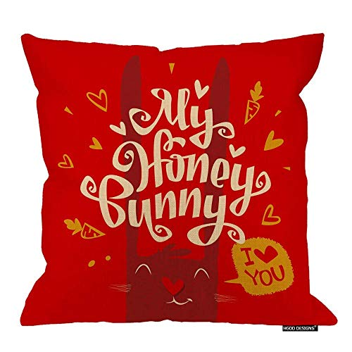 EUEI Valentines Day Throw Pillow,Modern Love Lettering Design My Honey Bunny Cotton Linen Decorative Square Accent Pillow Case, 18 X 18 Inches
