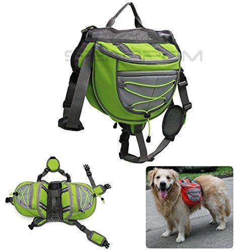 Imagen de inpay  perro respirable ajustable   alforja para senderismo, ejercicio, camping , viaje , trekking , ir de compras  fácil de adaptar alforja bolsa trébol con pequeño , mediamo , grande perro verde, m