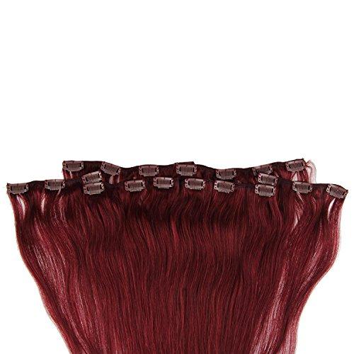 Beauty7 120g Extensions de Cheveux Humains à Clip 100% Remy Hair Haute Qualité #99 Couleur Rouge Vin Longueur 60 cm