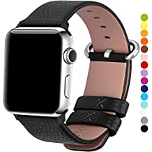 Correa Apple Watch 42mm, Fullmosa®Yan Apple Watch Band de Cuero Apple Watch Pulsera Correa para Watch Reemplazo de Reloj y Conector de Acero Inoxidable para iWatch Serie 1 Serie 2, Negro