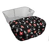 MadeForRain Extra große, Wasserdichte Regenhülle/Abdeckung für Fahrradkörbe, Koffer, Postkisten, Aufbewahrungsboxen CityTurtle XL (RetroFlower Schwarz)