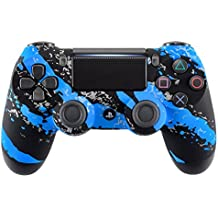 eXtremeRate® Blue Coating Splash Funda para PS4 Pro Slim Controller, Front Housing Shell Funda para CUH-ZCT2 Playstation 4 Remoto, Soft Touch Kit de Reemplazo para Dualshock 4 Controlador JD