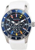Nautica A12629G - Reloj para hombres, correa de resina color blanco de Nautica
