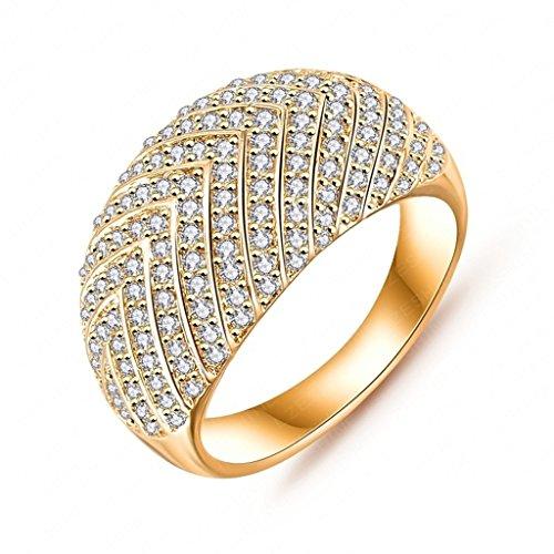 Daesar Joyería Anillo Compromiso de Oro Mujer, Flecha Diamantes Imitación Semental Anillo de Eternidad, Tamaño