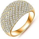 Daesar Joyería Anillo Compromiso de Oro Plata Mujer, Flecha Diamantes Imitación Semental Anillo de Eternidad