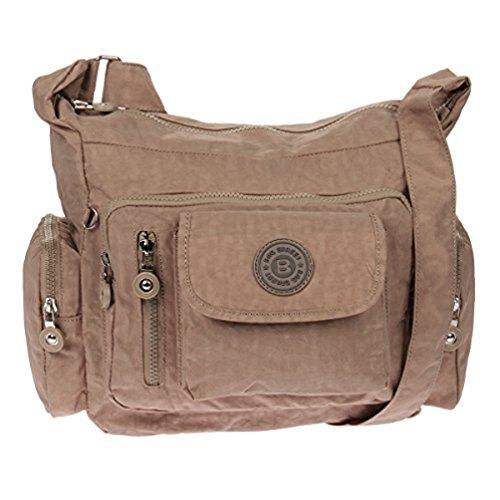 Bag Street Umhängetasche Bodybag Nylon (Graubraun)