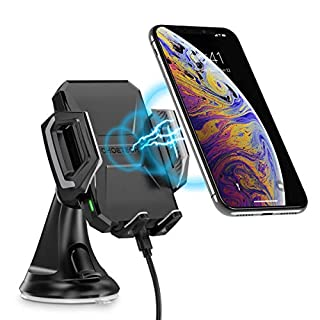 CHOETECH Fast Wireless Car Charger Mount,7.5W Compatible with Apple iPhone XR/XS/XS Max/X/8/8 Plus,10W for Galaxy Note 9/S9/S9+,S8/S8+,Note 8, 5W for Qi-enabled Phone Wireless Car Charger Phone Holder