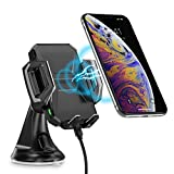 CHOETECH Chargeur de Voiture Sans Fil Rapide Auto 2 en 1 Support Rotation 360°Air Vent Mount Compatible avec Apple IPhone X 8 8 Plus XS XS Max XR, Samsung Galaxy S9 S9+ S7 S7 Edge S6 Edge S8 S8 Plus