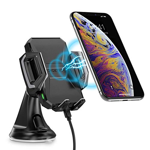 CHOETECH Cargador Inalámbrico Coche Fast Wireless Car Charger Soporte Móvil Carga Rápida Coche 7.5W Compatible con iPhone 8/XS/XS MAX/XR/X/8 Plus, 10W Galaxy S9/Note 9/S8/S7, 5W Teléfonos Qi-Enabled