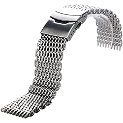 Conbays 20mm Silver Stainless Steel Mesh Quartz Wrist Watch Band Strap with Spring Bars