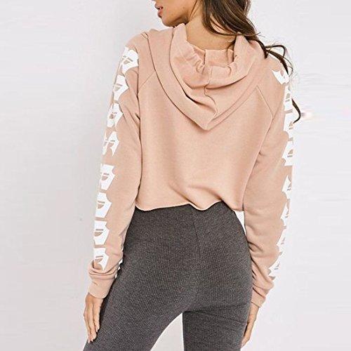 Lettre de manches de femmes imprimées lâche Sports Hoodie Sweatshirt manches longues Crop Sweatshirt Rose