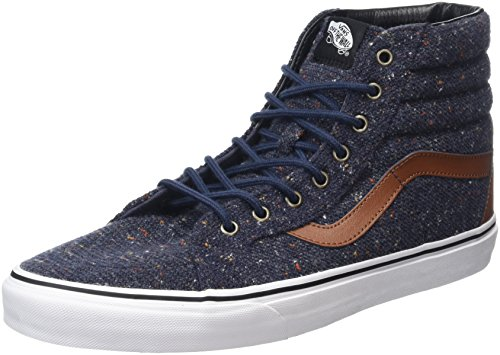 Vans Sk8-Hi Reissue, Sneakers Hautes Mixte Adulte Bleu (Wool & Leather parisian night/tortoise shell)