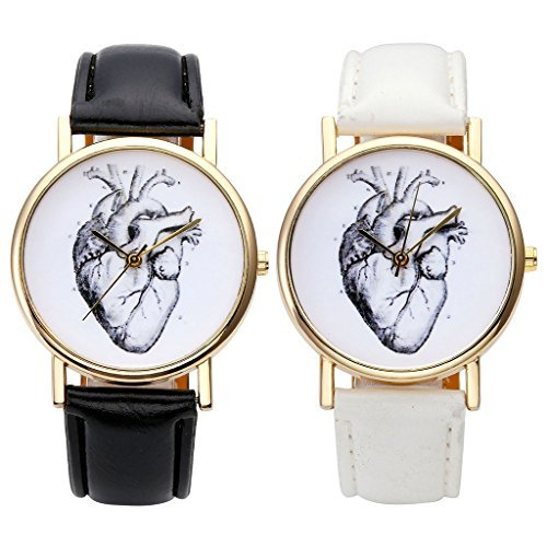 JSDDE Uhren,Vintage Damen Armbanduhr Skizze Organ Herz Zifferblatt Armbanduhr Leder Armband Analog Quarz Uhr,Schwarz - 5