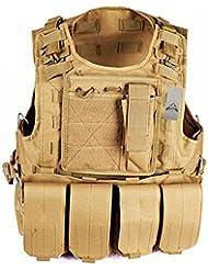 anzer caza táctico militar Airsoft Molle y # xFEFF; táctico asalto placa portadora chaleco con 4extraíble bolsas, al aire libre campo supervivencia equipo de aventura, marrón