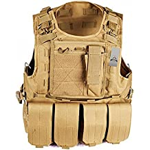 Anzer chaleco táctico de cacería de Airsoft Molle, chaleco táctico militar con placa y 4 bolsas extraíbles, equipo de supervivencia al aire libre, marrón