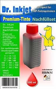 Dr. Inkjet Premium Nachfülltinte MAGENTA 100ml für HP 901 / 701 / 351 / 344 / 343 / 342 / 300 / 301 / 302 / 88 / 78 / 72 / 57 / 41 / 33 / 49 / 27 / 28 / 25 / 23 / 22 / 20 / 17 / 14 / 11 / 10