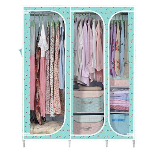 Lsjt shelf soggiorno camera da letto ripostiglio ripostiglio bagno armadio armadio tubo d'acciaio bold rinforzo ampio armadio a doppia struttura in acciaio armadio semplice in tessuto (colore : pink)