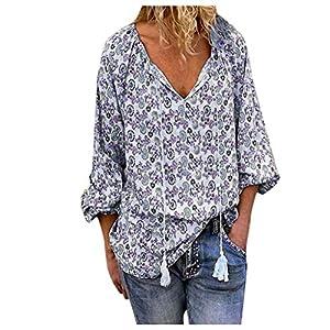 ❤️ AG & T ❤️ Frauen V-Ausschnitt Lässige Flowy Blusen Hemden Langarm Blumentunika Tops