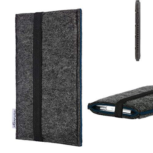 flat.design Handyhülle Lagoa für Cyrus CS 35 | Farbe: anthrazit/blau | Smartphone-Tasche aus Filz | Handy Schutzhülle| Handytasche Made in Germany