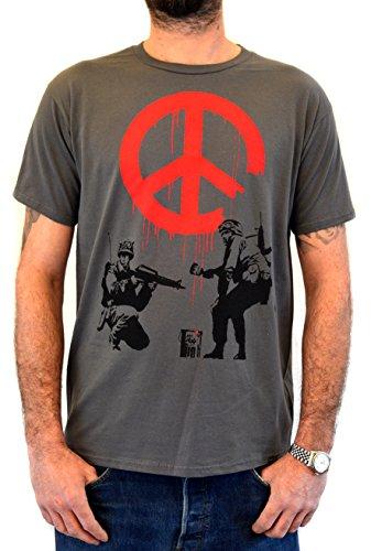 Faces Herren T-Shirt Street Art Banksy Soldiers Painting Peace Handserigraphie mit Wasser (S Herren)