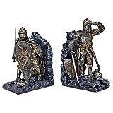 Design Toscano Cavalieri di Re Artù Decorazione Medievale Statue reggilibri, poliresina, pietra grigia, 20,25 cm, confezione da due