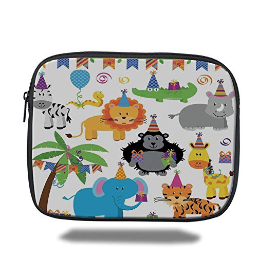 air 2/3/4/mini 9.7 inch,Birthday Decorations for Kids,Jungle Wild Animals in Cartoon Pattern Party Hats Flags Image,Multicolor,Bag ()