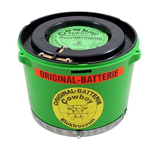 Original Cowboy Weidezaunbatterie 10,5 Volt grün B6 TURBO mit Erdungsplatte, Trockenbatterie, Batterie für Eider Weidezaungerät Bullenschreck - Kabelloser Anschluss