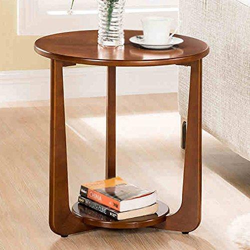 Étagère de rangement Xiaolin Table d'appoint canapé Bois Massif Table Basse Ronde Table d'angle Table téléphonique Deux Couleurs 50 * 53.5cm