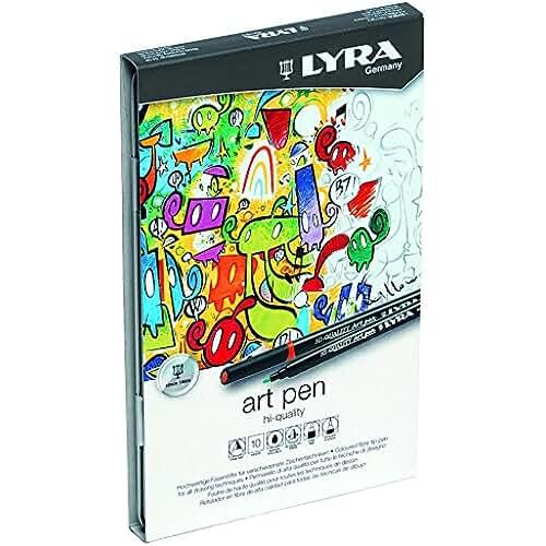 mas dibujos kawaii Lyra Hi-Quality Art Pen - Estuche metálico 10 rotuladores artísticos acuarelables de colores, efectos de luz y metálicos