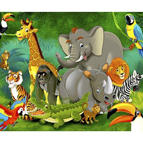 decomonkey Fototapete Kinderzimmer Tiere 300x210 cm XXL Design Tapete Fototapeten Vlies Tapeten Vliestapete Wandtapete moderne Wand Schlafzimmer Wohnzimmer Kinder Dschungel Elefant