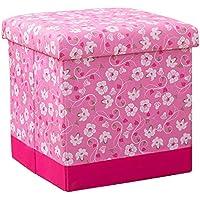 Preisvergleich für Lagerung Hocker LXF Faltender Speicher-Schemel-Osmane-Spielzeug-Kasten-Sitz-Badezimmer-Schemel-Schemel (Farbe : Pink, Größe : 25*25*25cm)