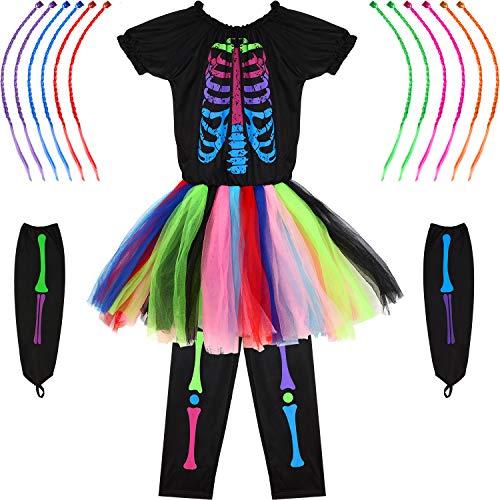 SATINIOR Halloween Mädchen Funky Punky Skeleton Knochen Kostüm mit Haarverlängerungen (Funky Bones Kostüm)