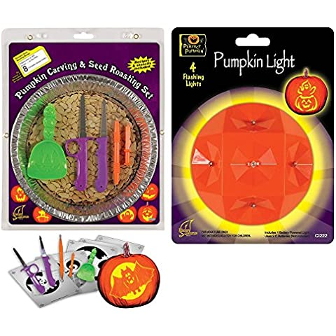 Halloween Pumpkin Carving and Seed Roasting Kit with Pumpkin Light and Stencil Set by Concept