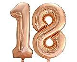 Ballonim Zahlenballon 18 rosegold 86cm Luftballons Folienballon Geburtstag xxl Zahl zum 18. Geburtstag Happy Birthday
