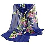 Lenfesh Bufandas seda Mujeres Fular de seda Floral Estampado Elegantes Suave Fulares larga Otoño Invierno