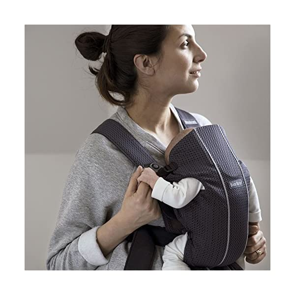 BABYBJÖRN Baby Carrier Mini, 3D Mesh, Anthracite Baby Bjorn Perfect first baby carrier for a newborn Small and easy to use 3D Mesh - Cool and airy mesh fabric, with an incredibly soft inner layer next to your newborn's skin 5