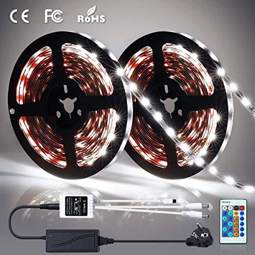 LED Streifen Weiß | LED Strip 10M | SOLMORE 600 LEDs 2x 5m LED Bänder Kit mit 24-Tasten IR Fernbedienung und 12V Netzteil | SMD 2835 LED 6000K | Innenbeleuchtung für Küche, Deko, PC-Monitor
