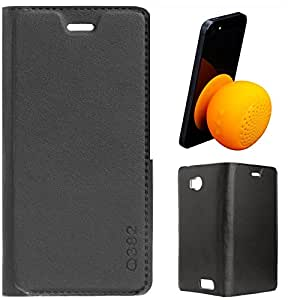 DMG Premium PU Leather Flip Cover Case for Micromax Canvas Juice 4 Q382 (Black) + Waterproof Bluetooth Suction Stand Speaker