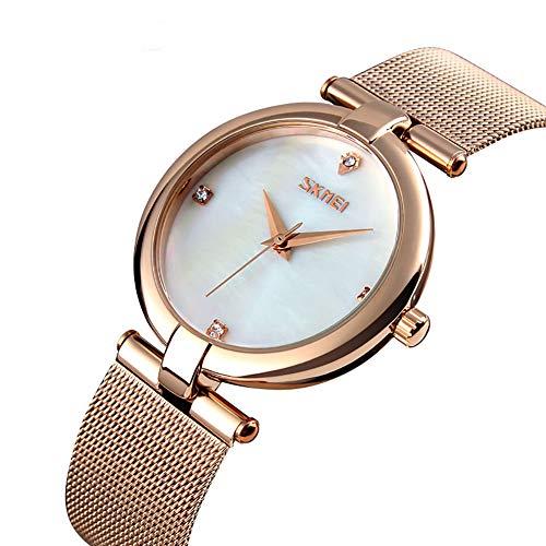IKVRU Women es Watch Analog Quartz Stainless Steel Mesh Band Casual Fashion Ladies Wrist Uhren mit Liebe Knoten Armband-Geschenk,White (Stainless Steel Watch Band, White)