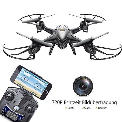 Holy Stone HS200 FPV RC drohne mit HD Kamera WIFI live übertragung und APP rc helikopter quadrocopter ferngesteuert mit camera, vr brille, Headless-Modus für Kinder und Anfänger, Farbe Schwarz