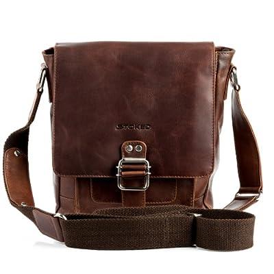 STOKED Bolso bandolera NATHAN - piel genuina marrón - cartera cruzado con asa para el hombro - pequeño - bolso para hombro (22 x 25 x 7 cm)