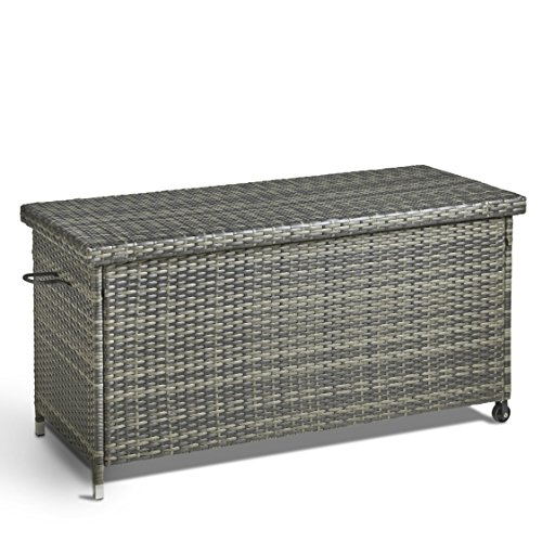 Vonhaus Cushion Storage Box Pe Rattan Weather Resistant And Easy