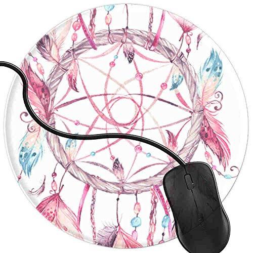 QCFW Alfombrilla de Ratón Atrapasueños en Plumas de Color Rosa Aguamarina Alfombrilla de Ratón Ordenador Gaming Superficie Suave 2T3038