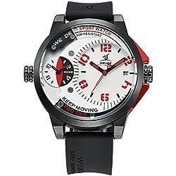 Alienwork DualTime Quartz Watch Multi Time Zones Wristwatch XXL Oversized Polyurethane white black OS.UV1501-2