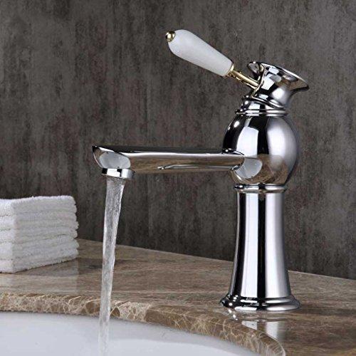 Tous Copper Basin eau chaude et froide robinet d'eau Salle de bains Taipen Antique Robinet Simple - Trou salle de bains Cabinet Robinet Lavabo