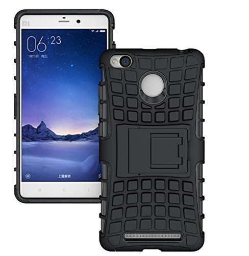 Xiaomi Mi Redmi Y1 Defender || Case for Dual Layer Tough Rugged Shockproof Hybrid Warrior Armor Case Back Cover With Kickstand / Black